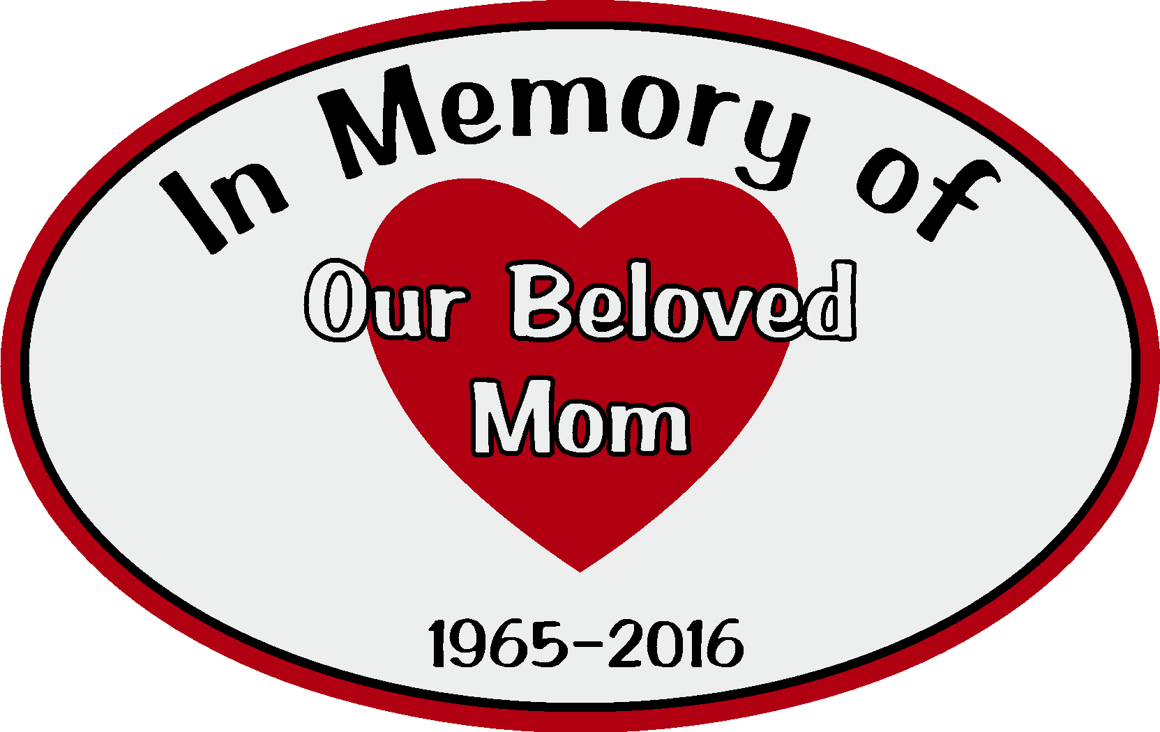 Memorial car decal with personalized heart